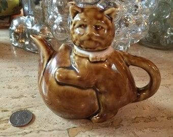 Tiny Tan Oriental Porcelain Cat Teapot