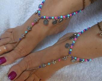 Crochet Barefoot Sandals Beach Wedding  Yoga Shoes Foot Jewelry Silver Pink Blue