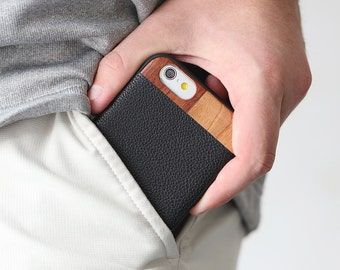Leather iPhone 6 Case, iPhone 6 Leather Case, Wood/Leather iPhone 6 Case - LTR-BL-I6