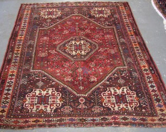 Persian Rug - 1960s Hand-Knotted Shiraz Rug (3258)