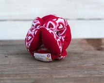 Amish Fabric Puzzle Ball Red Hearts Baby Child Pet Toy