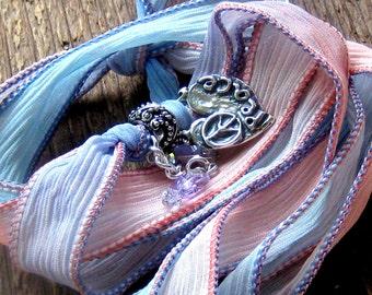 Peace Heart Hand Dyed Silk Ribbon Wrap Bracelet Bohemian Jewelry Rose Quartz Serenity Valentines Day