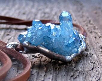 Aqua Aura Quartz Necklace Bohemian Jewelry