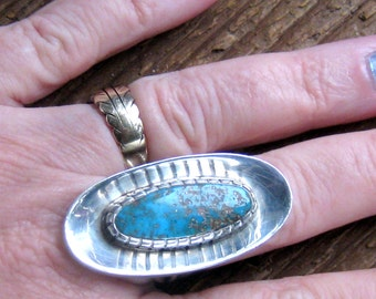 Turquoise Ring, Sterling Silver Ring, Vintage Ring, Turquoise Jewelry, Native Turquoise Ring, Vintage Turquoise Ring, Southwestern Jewelry