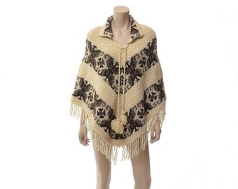 Vintage 80s Southwestern Fringe Wool Poncho 1980s Ethnic Butterflies Chunky Knit Draped Boho Cloak Winter Jacket Gypsy Coat Cape