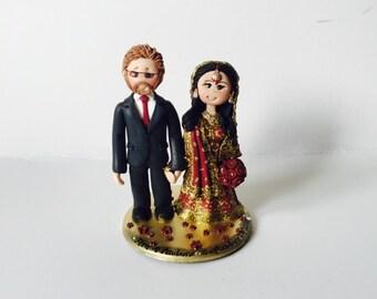 Personalised Asian Indian Sikh Hindu Pakistani Muslim Saree Sari Bride & Groom Ethnic wedding cake topper