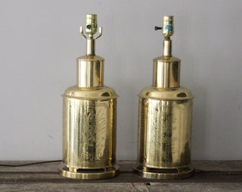 Pair of Brass Toned Chinesoire Lamps