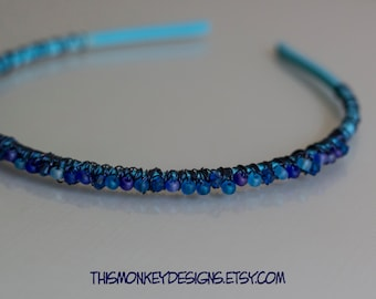 Sea and Sky wire wrapped and beaded headband / handmade / hair accessory / swarovski / etsy / blue / wearable art / female artist / gifts