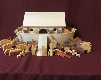 Noah's Ark with wooden animals