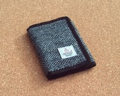 Harris tweed wallet in grey herringbone fabric billfold style. Gift for men Father's day