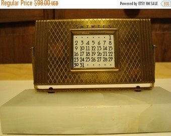 Sizzlin Summer Sale Perpetual Calendar on Marble base Vintage Calendar Mid Century