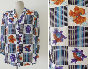 Vintage 70s baroque style blouse,long sleeves,slouchy,Versace Style,button down blouse with floral /color block print - blue tone, S-M-L-XL