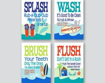 Childrens Kids Bathroom Art Prints Set Of 4 5 X7 Or 8