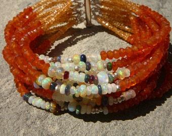 Opal Bracelet,Carnelian Bracelet,Ethiopian Opal Bracelet,MultiStrand Gemstone Bracelet,Multi Strand Opal Bracelet,Yellow White Black Opal