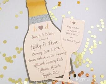 Brunch and Bubbly invitation, bridal shower invitation, brunch invitation champagne invitation