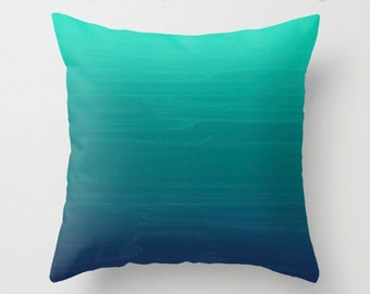 Seafoam to Navy Gradient Ombre Painted Appearance / Pillow Zippered Cushion Case Cover /Indoor or Outdoor 2-Sided 16X16 18X18 20X20 Square