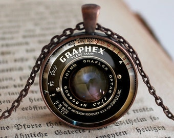 Image of Graphex Vintage Camera Lens Image Pendant/Necklace Jewelry, Fine Art Necklace Jewelry, Camera Lens Photo Jewelry Glass Pendant Gift