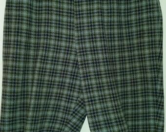 Vintage Bermuda Shorts 60's Jack Winter Wool Plaid Walking Shorts Preppy Blue Gray Plaid Size S