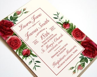 Red Rose Wedding Invitation - Ruby Wedding SAMPLE