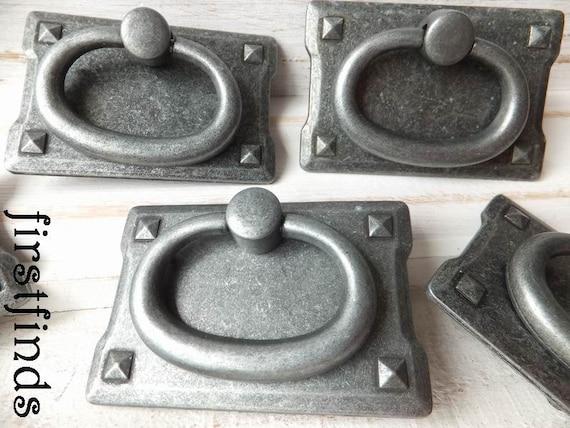 2 metal ring pulls dresser drawer handles backplate furniture - Dresser drawer pulls with backplate ...