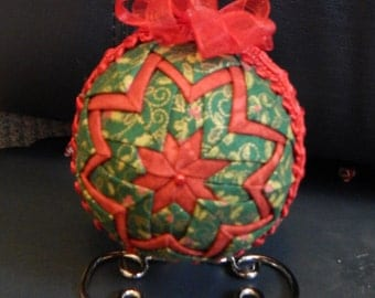 Quilted Ornament-Red/Green Holly