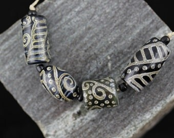 Organic Silvered Ivory Scroll Beads  Set of 4 Handmade Lampwork Beads