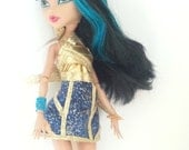 Egyptian Monster Doll Prom Dress Gold and Galaxy Print