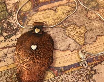 Sugar skull etched copper necklace special order