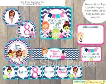 Girls Spa Party Printable Set, Birthday Parties, Spa Party DIY Printable File