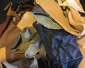 1 lb. Bag Mixed Leather Remnants/Scrap for Jewelry Making/Crafts