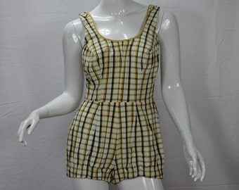 1960s Too Cute for Words Perfection Fit By Roxanne Plaid Playsuit Swimsuit