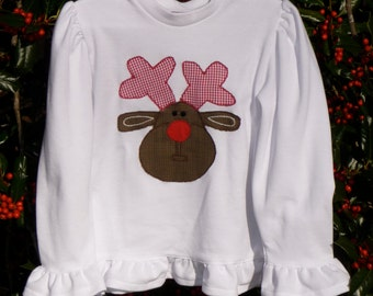 Christmas shirt appliqued with Rudolph the Red Nose Reindeer
