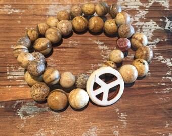 Peace sign beaded bracelet set