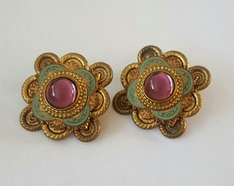 Vintage Bronze and Purple Glass Cabochon Clip On Earrings