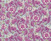 Tula Pink Wild Vines in Raspberry for Free Spirit  Chipper Collection Cotton Woodland Fabric - Purple Green Floral Fabric - Modern Fabric