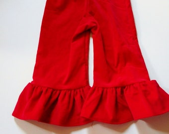 Red Corduroy Ruffle Pants Ready to Ship