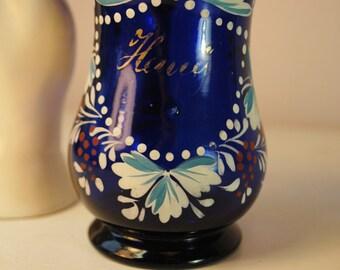 cobalt BLUE glass hand painted Pitcher Mug hand blown glass very rare cobalt gold trim feels SO lovely in your hand PARIS flea market find