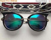 GOODBYE SUMMER SALE Deadstock Black Wing tip Green Metallic Lens frame Sun Glasses