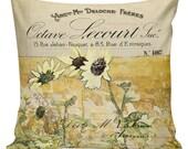 Sunflower Pillows, Botanical Pillows, Sunflowers, Floral, Fall Decor, Cushion Covers, Throw Pillows, Made in USA, Cotton, Burlap,   #SP0091