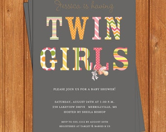 Twins Patterns Invitation | Baby Shower | Printable Editable Digital PDF File | Instant Download | BSI123Twin GirlsDIY