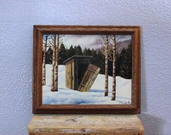 Country Art - Outhouse Print - Country Living - Framed Print - Vintage - Bathroom Art - Folk Art - Ranch, Farm, Nostalgia