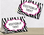 Instant Download - Editable PDF Printable - Zebra Label / Sticker / Tent Card / Tags / Place Card - DIY - Black White Hot Pink