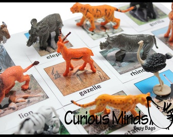 Montessori Safari Animal Match - Miniature Animals with Matching Cards - 2 Part Cards.  Montessori learning toy, language materials