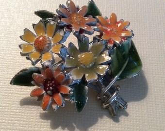 Cute enamelled flower bouquet brooch
