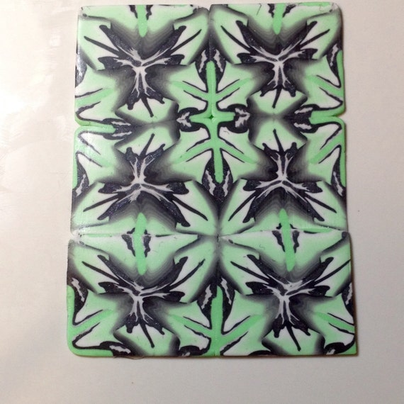Complex Polymer Clay Cane Mint Green Black Gray From