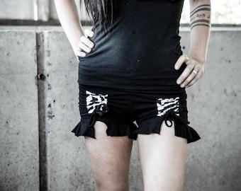 Sale-Organic cotton booty short- w zebra, kimono print, thai hill tribe or plain- Yoga shorts- Booty shorts