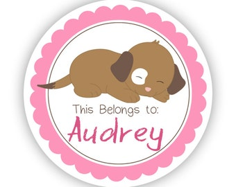 Personalized Name Label Stickers - Pink Puppy, Baby Dog, Puppy Dog Name Tag Sticker Labels, This Belongs To - Back to School Name Labels