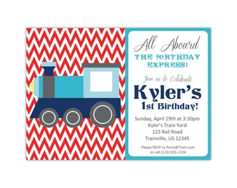 Train Invitation - Red Chevron, Cute Navy Blue and Turquoise Little Engine Train Personalized Birthday Party Invite - Digital Printable File