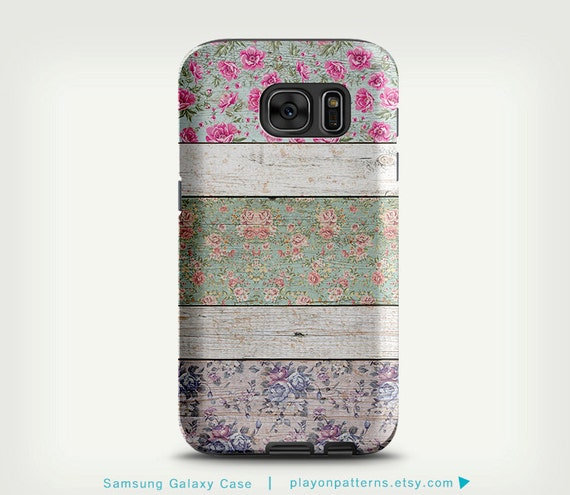 Samsung Galaxy S6 Case , Cute Galaxy S5 Case , Vintage Floral Art Wood ...