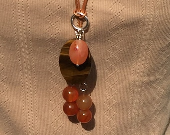 Carnelian YNecklace, Tiger Eye Oval Beaded YNecklace, Handmade Carnelian Necklace, Edinburgh Jewellery Designer, Scotland, UK